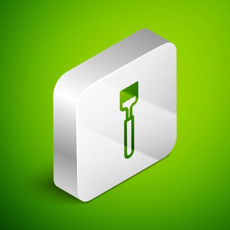 Isometric line Fork icon isolated on green background. Cutlery symbol. Silver square button. Vector Illustration