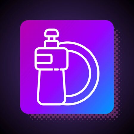 White line Dishwashing liquid bottle and plate icon isolated on black background. Liquid detergent for washing dishes. Square color button. Vector Illustration