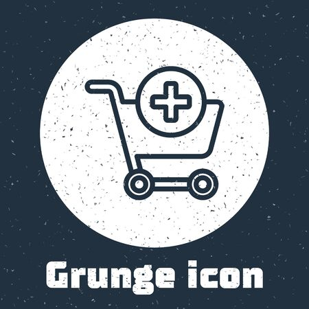 Grunge line Add to Shopping cart icon isolated on grey background. Online buying concept. Delivery service sign. Supermarket basket symbol. Monochrome vintage drawing. Vector Illustration Ilustracja
