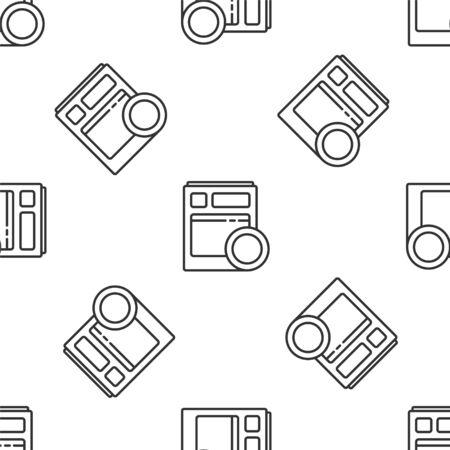 Grey line Kitchen dishwasher machine icon isolated seamless pattern on white background. Vector Illustration Ilustracja
