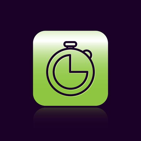 Black line Kitchen timer icon isolated on black background. Cooking utensil. Green square button. Vector Illustration Ilustracja
