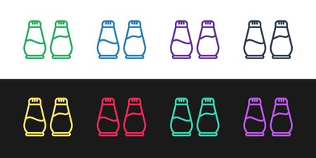 Set line Salt and pepper icon isolated on black and white background. Cooking spices. Vector Illustration