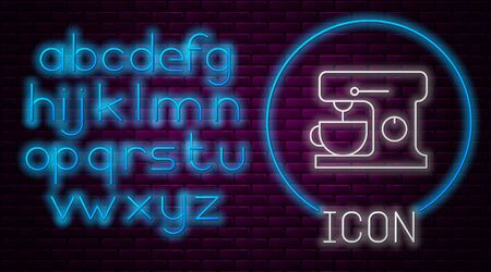 Glowing neon line Electric mixer icon isolated on brick wall background. Kitchen blender. Neon light alphabet. Vector Illustration