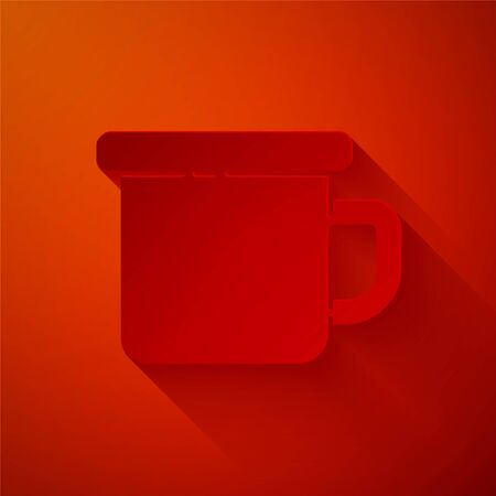 Paper cut Camping metal mug icon isolated on red background. Paper art style. Vector Illustration
