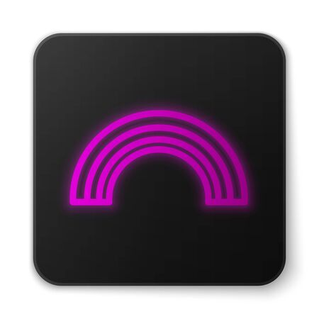 Glowing neon line Hand holding money icon isolated on white background. Dollar or USD symbol. Cash Banking currency sign. Black square button. Vector Illustration