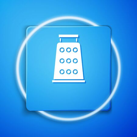 White Grater icon isolated on blue background. Kitchen symbol. Cooking utensil. Cutlery sign. Blue square button. Vector Illustration