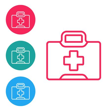 Red line First aid kit icon isolated on white background. Medical box with cross. Medical equipment for emergency. Healthcare concept. Set icons in circle buttons. Vector Illustration