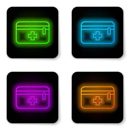 Glowing neon line First aid kit icon isolated on white background. Medical box with cross. Medical equipment for emergency. Healthcare concept. Black square button. Vector Illustration