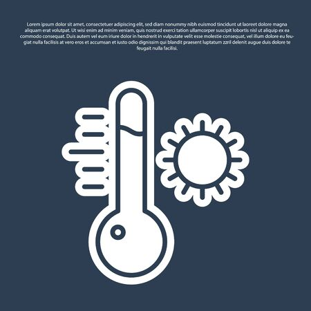 Blue line Meteorology thermometer measuring icon isolated on blue background. Thermometer equipment showing hot or cold weather. Vector Illustration Ilustrace