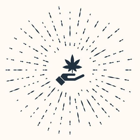 Grey Medical marijuana or cannabis leaf icon isolated on beige background. Hemp symbol. Abstract circle random dots. Vector Illustration