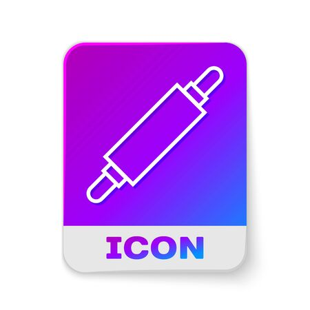 White line Rolling pin icon isolated on white background. Rectangle color button. Vector Illustration