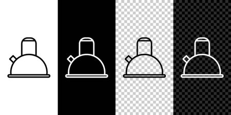 Set line Kettle with handle icon isolated on black and white background. Teapot icon. Vector Illustration Vettoriali