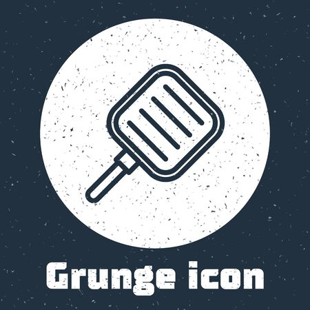 Grunge line Frying pan icon isolated on grey background. Fry or roast food symbol. Monochrome vintage drawing. Vector Illustration Ilustracja