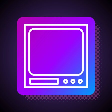 White line Electronic scales icon isolated on black background. Weight measure equipment. Square color button. Vector Illustration