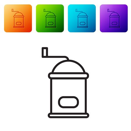 Black line Manual coffee grinder icon isolated on white background. Set icons in color square buttons. Vector Illustration Ilustracja
