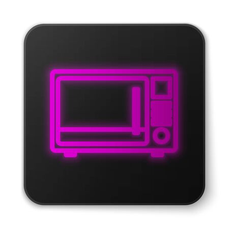 Glowing neon line Microwave oven icon isolated on white background. Home appliances icon. Black square button. Vector Illustration Ilustracja