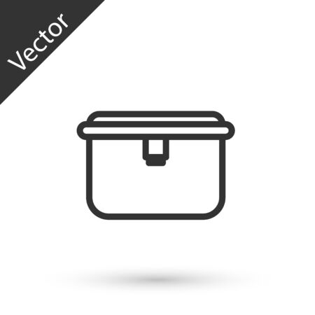 Grey line Lunch box icon isolated on white background. Vector Illustration