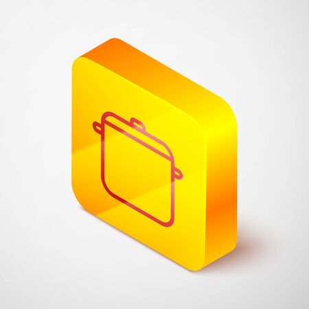 Isometric line Cooking pot icon isolated on grey background. Boil or stew food symbol. Yellow square button. Vector Illustration