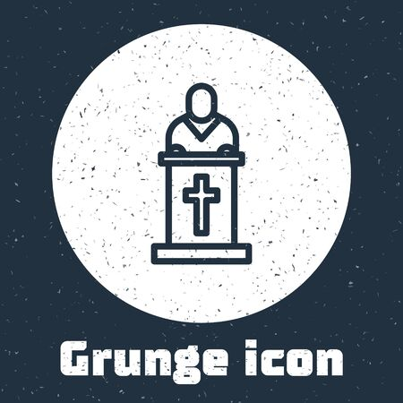 Grunge line Church pastor preaching icon isolated on grey background. Monochrome vintage drawing. Vector Illustration