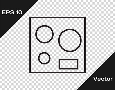 Black line Electric stove icon isolated on transparent background. Cooktop sign. Hob with four circle burners. Vector Illustration Ilustracja