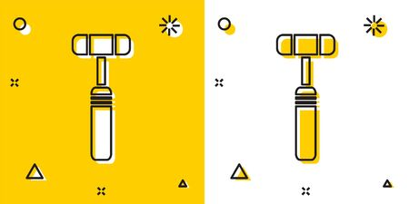 Black Neurology reflex hammer icon isolated on yellow and white background. Random dynamic shapes. Vector Illustration