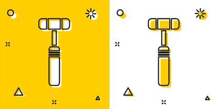 Black Neurology reflex hammer icon isolated on yellow and white background. Random dynamic shapes. Vector Illustration