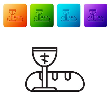 Black line First communion symbols for a nice invitation icon isolated on white background. Set icons in color square buttons. Vector Illustration