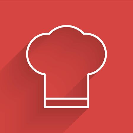 White line Chef hat icon isolated with long shadow. Cooking symbol. Cooks hat. Vector Illustration. Ilustracja