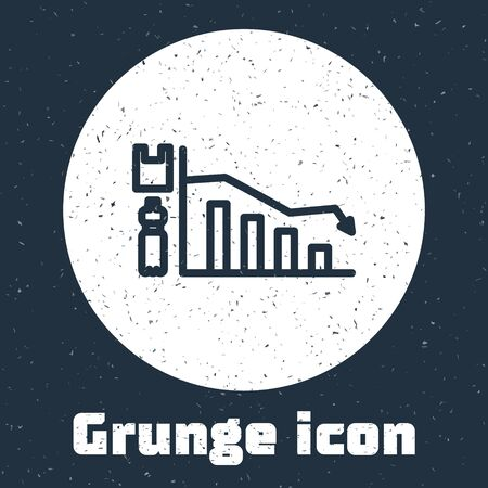 Grunge line Ecology infographic icon isolated on grey background. Monochrome vintage drawing. Vector Illustration Ilustracja