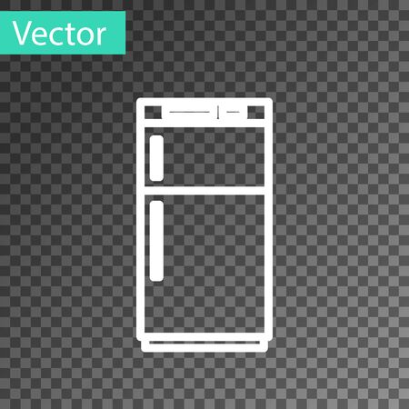 White line Refrigerator icon isolated on transparent background. Fridge freezer refrigerator. Household tech and appliances. Vector Illustration