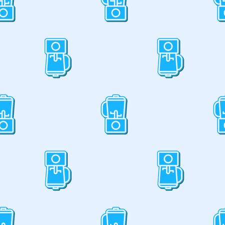 Blue line Blender icon isolated seamless pattern on grey background. Kitchen electric stationary blender with bowl. Cooking smoothies, cocktail or juice. Vector Illustration Ilustracja