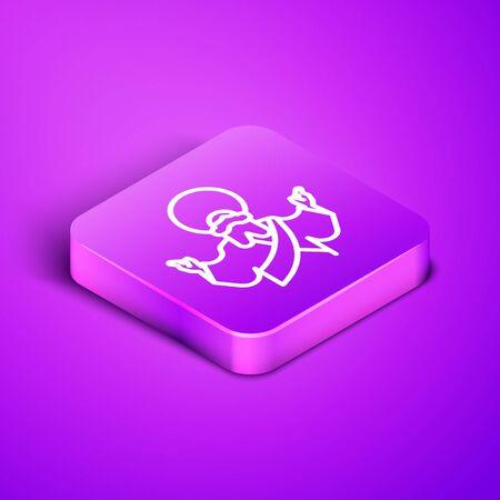 Isometric line Jesus Christ icon isolated on purple background. Purple square button. Vector Illustration. Çizim