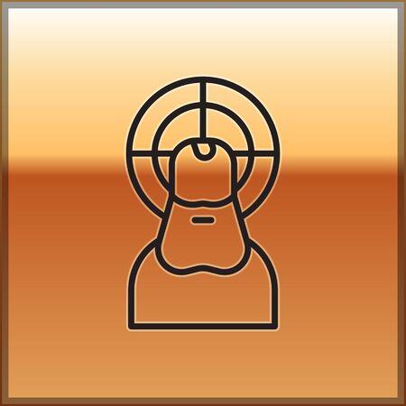 Black line Jesus Christ icon isolated on gold background. Vector Illustration.