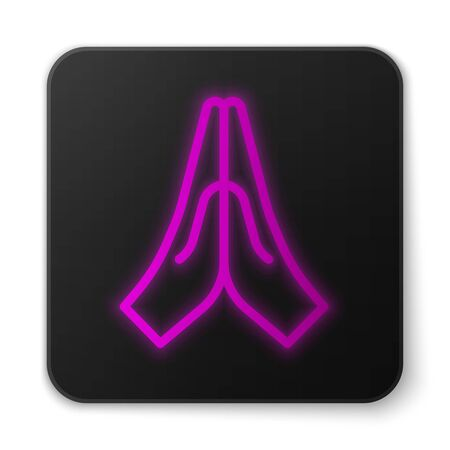 Glowing neon line Hands in praying position icon isolated on white background. Prayer to god with faith and hope. Black square button. Vector Illustration. Çizim