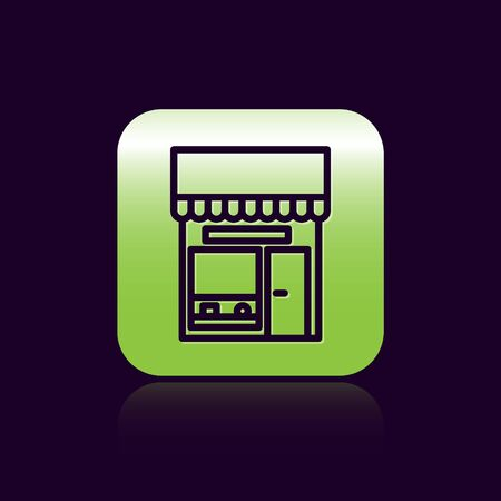 Black line Shopping building or market store icon isolated on black background. Shop construction. Green square button. Vector Illustration. Illustration