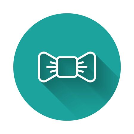 White line Bow tie icon isolated with long shadow. Green circle button. Vector Illustration Illusztráció