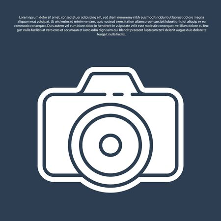 Blue line Photo camera icon isolated on blue background. Foto camera icon. Vector Illustration