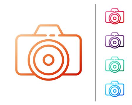 Red line Photo camera icon isolated on white background. Foto camera icon. Set color icons. Vector Illustration
