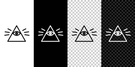Set line Masons symbol All-seeing eye of God icon isolated on black and white background. The eye of Providence in the triangle. Vector Illustration.