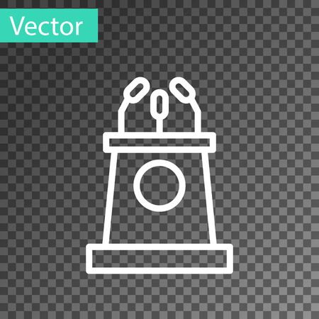 White line Stage stand or debate podium rostrum icon isolated on transparent background. Conference speech tribune. Vector Illustration. Ilustracja