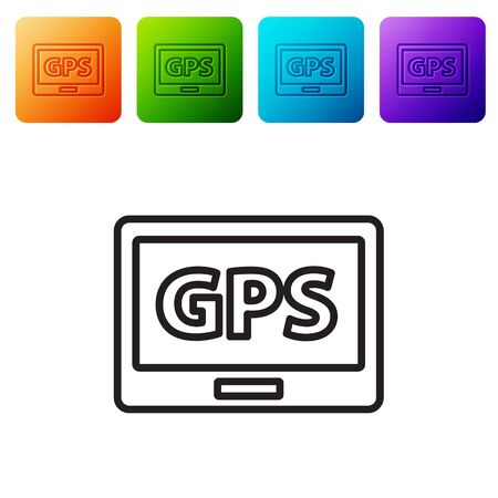 Black line Gps device with map icon isolated on white background. Set icons in color square buttons. Vector Illustration.