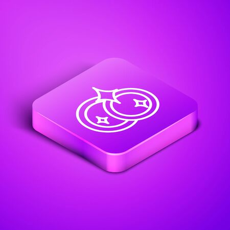 Isometric line Washing dishes icon isolated on purple background. Cleaning dishes icon. Dishwasher sign. Clean tableware sign. Purple square button. Vector Illustration Ilustracja