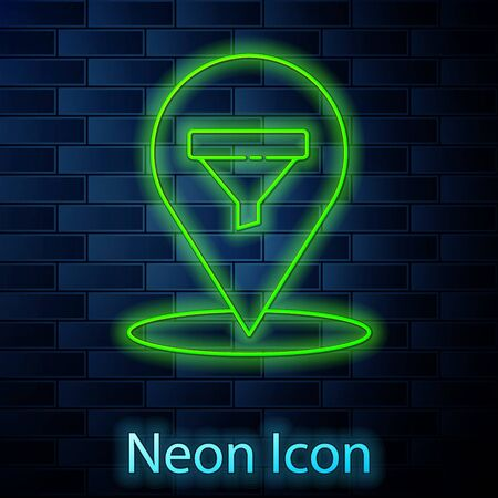 Glowing neon line Location with sales funnel icon isolated on brick wall background. Infographic template. Vector Illustration