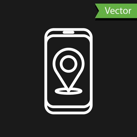 White line Infographic of city map navigation icon isolated on black background. Mobile App Interface concept design. Geolacation concept. Vector Illustration