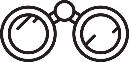 Black line Binoculars icon isolated on white background. Find software sign. Spy equipment symbol. Vector Illustration.
