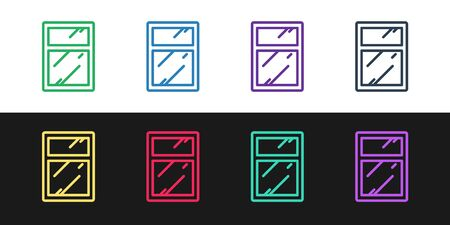 Set line Cleaning service for windows icon isolated on black and white background. Squeegee, scraper, wiper. Vector Illustration.