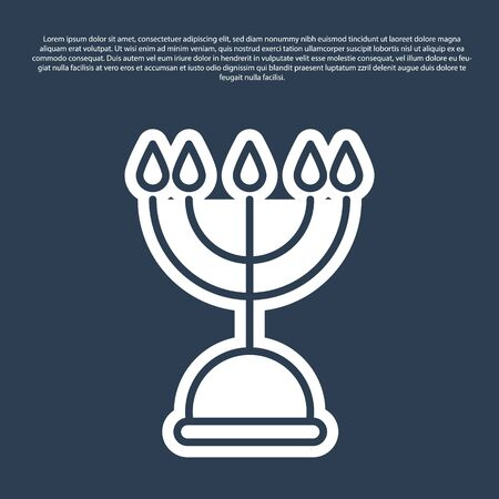 Blue line Hanukkah menorah icon isolated on blue background. Hanukkah traditional symbol. Holiday religion, jewish festival of Lights. Vector Illustration.