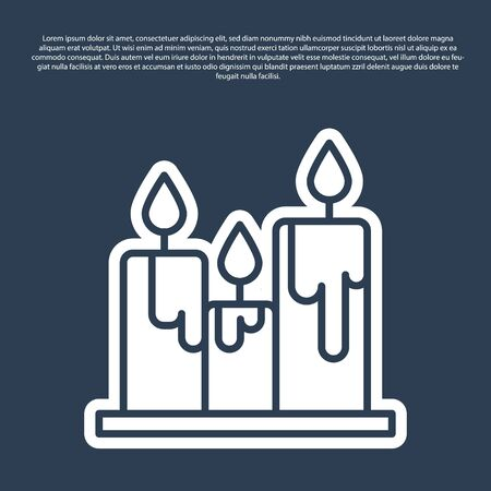 Blue line Burning candles icon isolated on blue background. Cylindrical candle stick with burning flame. Vector Illustration.