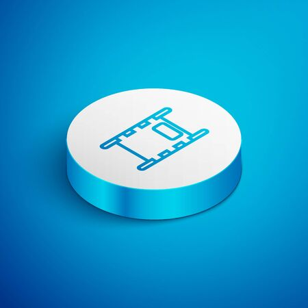 Isometric line Stretcher icon isolated on blue background. Patient hospital medical stretcher. White circle button. Vector Illustration