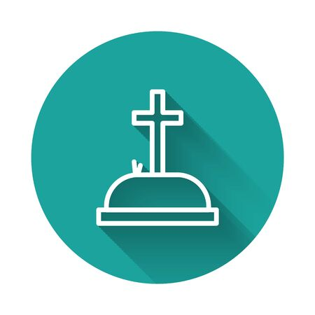 White line Tombstone with cross icon isolated with long shadow. Grave icon. Green circle button. Vector Illustration